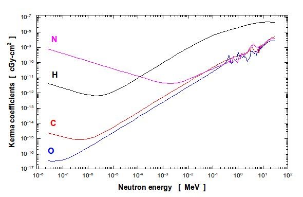 Figure 1: Neutron KERMA coefficients for C, H, O and N